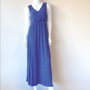 Isabel Maternity Blue Striped Maxi Dress